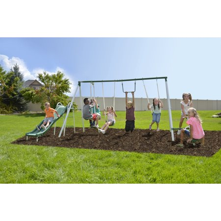 Sportspower Outdoor Live Oak Metal Swing and Slide Set with 6ft Heavy Duty Slide ()