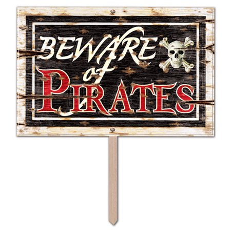 3-D Plastic Beware Of Pirates Yard Sign (Pack of 6) - image 1 of 1