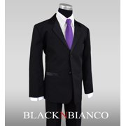 Black N Bianco Boys Tuxedo in Black with a Purple Long Neck Tie