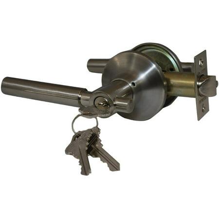 Satin Nickel Finished Door - Constructor Rondo Entry Door Lever Handle Lock Set Satin Nickel Finish