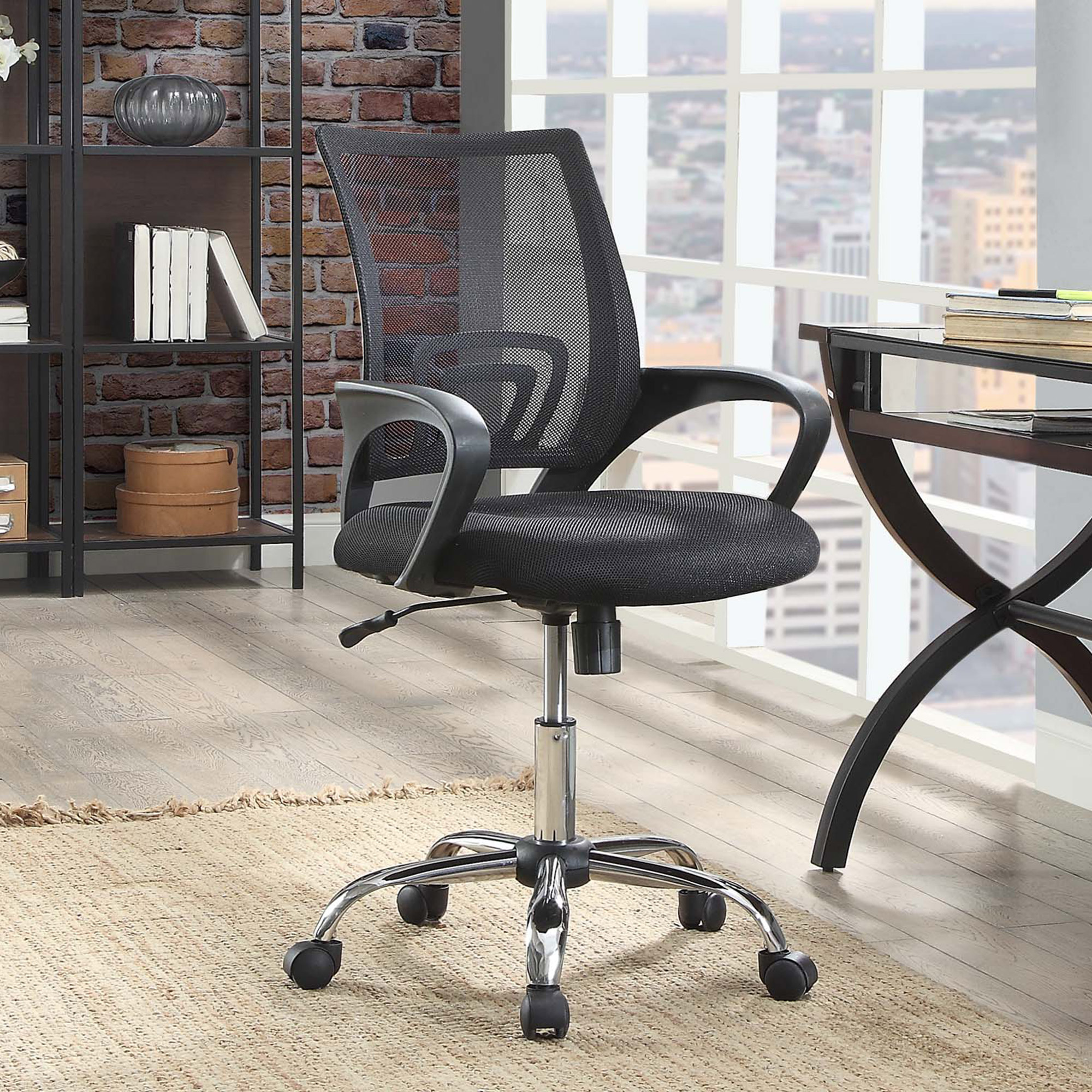 Office Desk Chair W/Arms Mesh-Back Adjust-Height 5-Casters