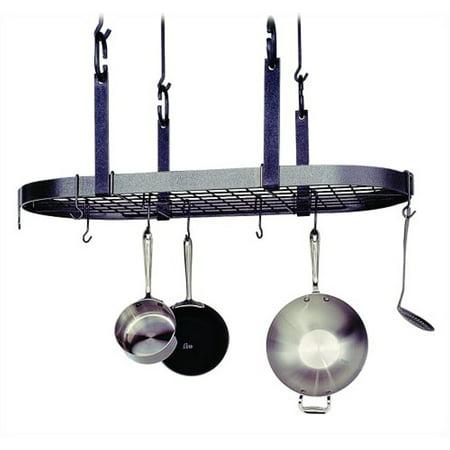 Enclume Premier 4-Point Oval Ceiling Pot Rack, Hammered Steel - Enclume Steel Pot Rack