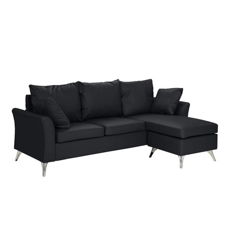 Modern PU Leather Sectional Sofa - Small Space Configurable Couch (Black)