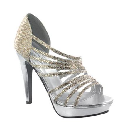 Image of Touch Ups Womens Carey Platform Sandal, Silver/Gold Glitter,10.5 M US