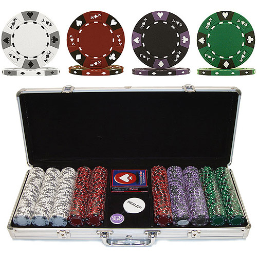 Trademark Poker 500 14 Gram 3 Color Ace King Suited Clay Poker Chip Set with Aluminum Case by TRADEMARK GAMES INC