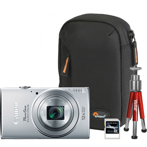 Canon Silver PowerShot ELPH 170 IS Digital Camera Bundle with 20 Megapixels and 12x Optical Zoom