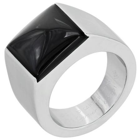 Cartier Tank 18K White Gold Black Onyx Ladies Ring Size 5.75 EU 50