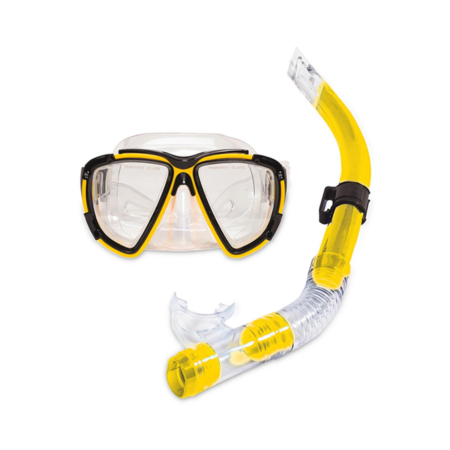 Yellow Kona Pro Teen or Adult Scuba Mask and Snorkel Dive Set by Swim Central