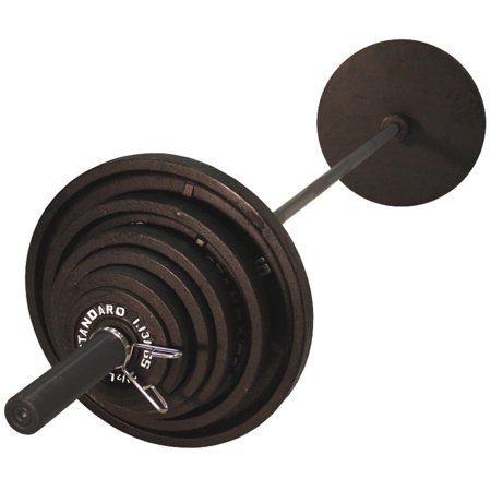 Harvil 300 Pound Black Olympic Weight Set With 7 Feet Bla