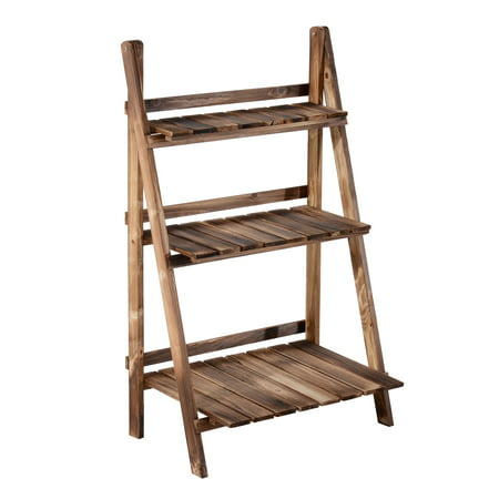 Outsunny Wooden 3 Tier Ladder Plant - 3 Tier Metal Stand