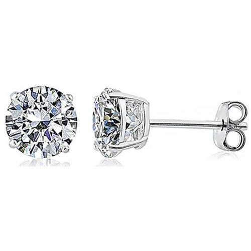 Doma Jewellery SSES007C-3M Sterling Silver Earring With 3 mm.  Round Stud CZ