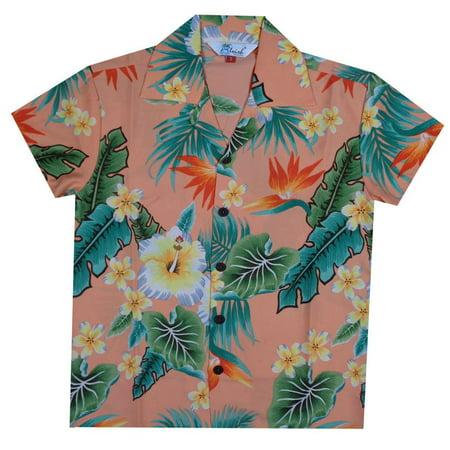 Hawaiian Shirts 46B Boys Flower Leaf Beach Aloha Holiday Casual Peach M - Peachy Boys