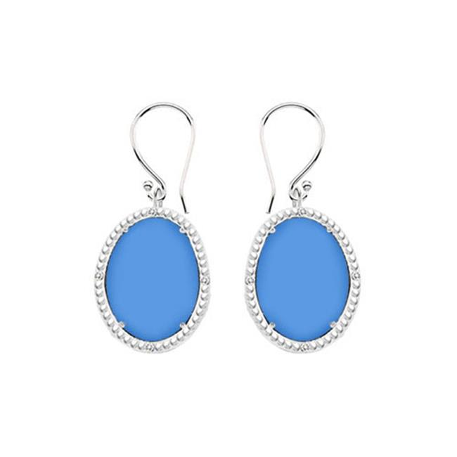 Fine Jewelry Vault UBERBK70384W10DCBU 10K White Gold Blue Chalcedony and Diamond Earrings 30.16 CT TGW by Fine Jewelry Vault