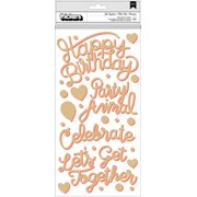 "Confetti Wishes Thickers Stickers 5.5""X11"" 2/Pkg-Get Together Phrases/Mint & Coral Foam"