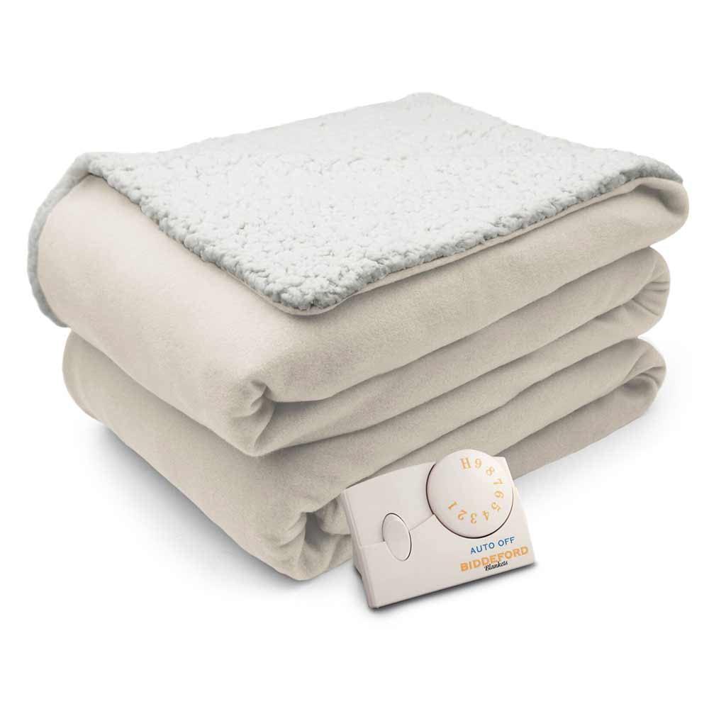 Biddeford Comfort Knit Natural Sherpa Electric Heated Blanket Walmart Com