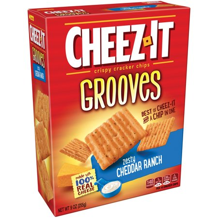 Cheez It Grooves Zesty Cheddar Ranch Crispy Cracker Chips 9 Oz  Box