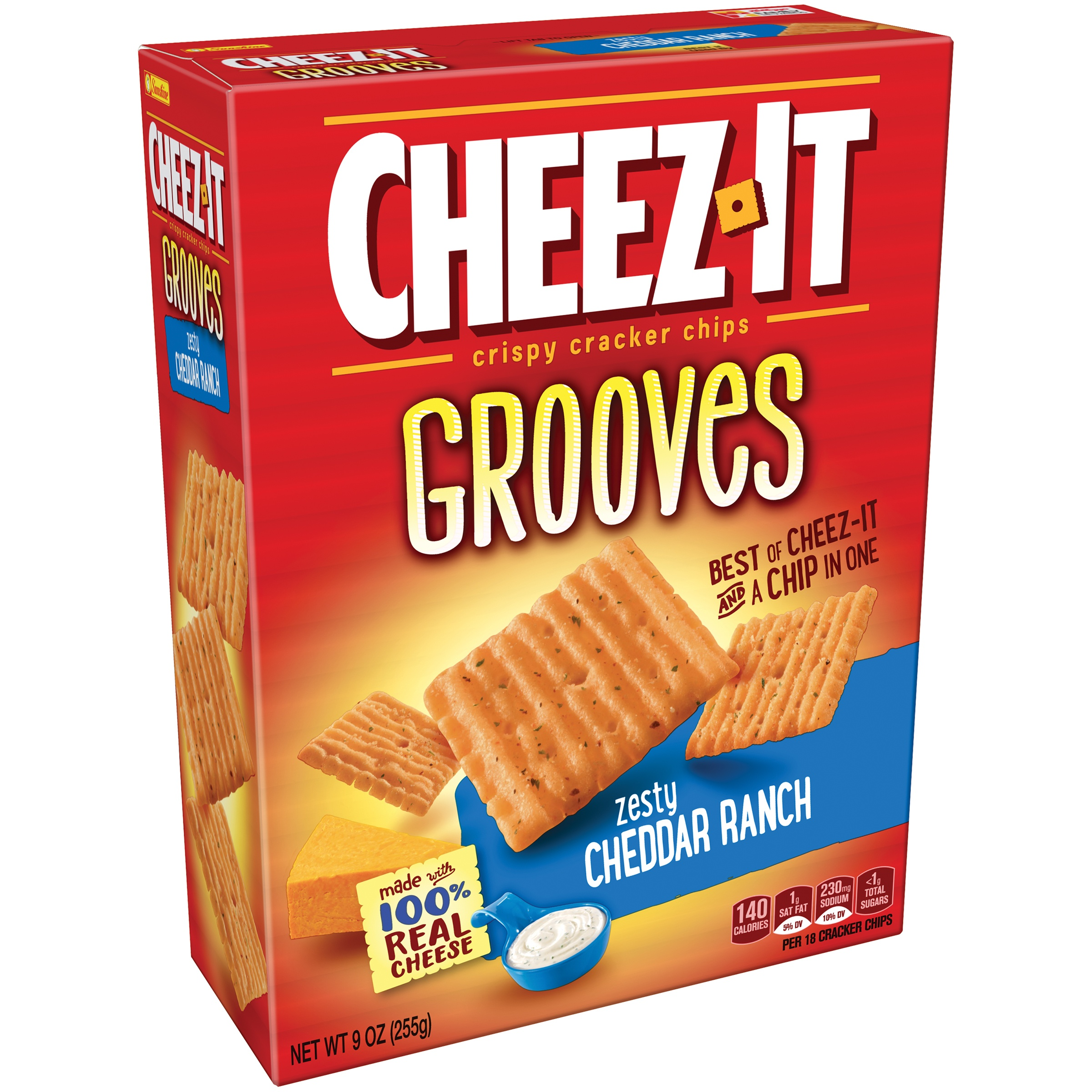 Cheez-It Grooves Zesty Cheddar Ranch Crispy Cracker Chips 9 oz. Box