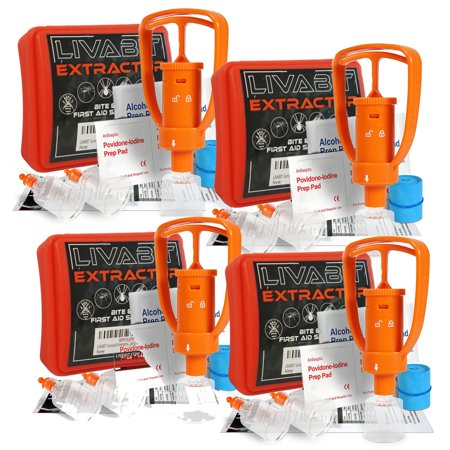 - 4 x LIVABIT Venom Bite Poison Extractor Pump Emergency First Aid Kit Snake Bite