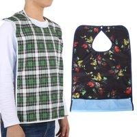 LHCER Adult Waterproof Mealtime Bib Double Layer Elder Dinning Clothes Protector Blue,Adult Bib, Clothing Protector Bib