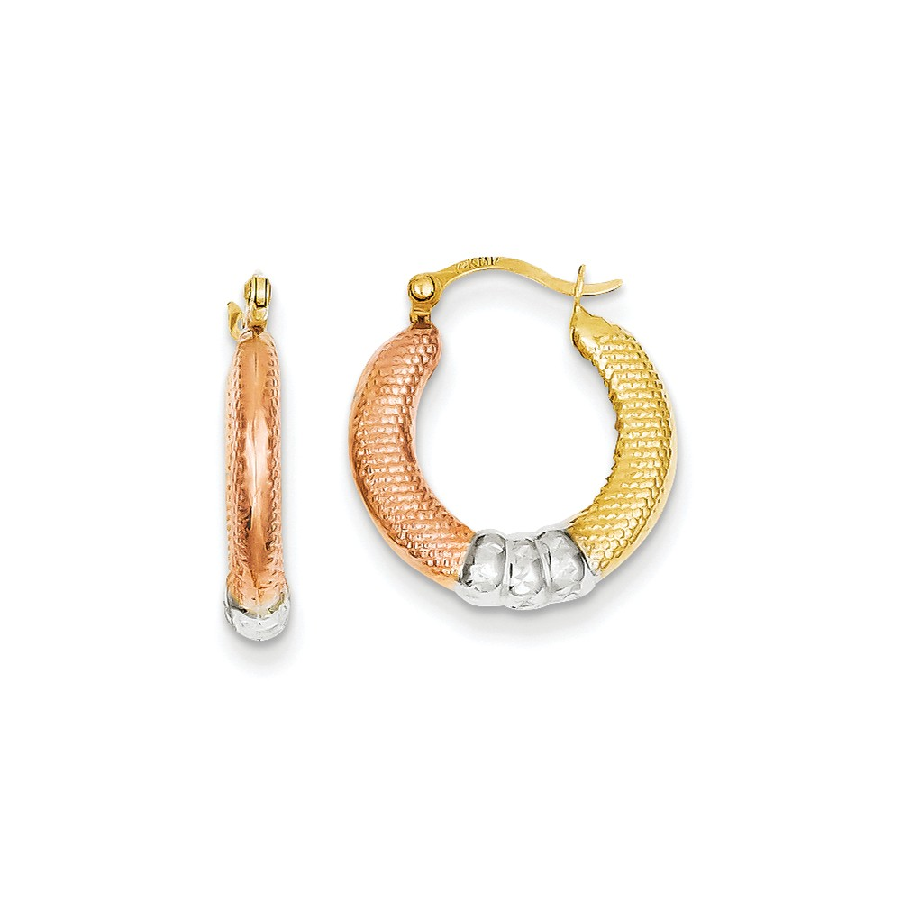 14k Yellow Gold & White and Rose Textured D/C Scalloped 0.5IN Hoop Earrings (0.6IN x 0.6IN )