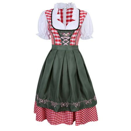 Women's German Mini Dirndl Oktoberfest Fancy Dress Ladies Costume S (Occupation Fancy Dress)