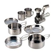 AIWAYING 9pcs Mini Camping Cooking Set Mess kit Collapsible Hiking Stainless Steel Nonstick Pot Pan with Camp Stove Tripod Con