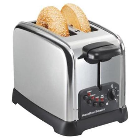 NEW Hamilton Beach 2 Slice Chrome Classic Bagel Toaster Extra Wide Slots P