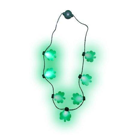 Light up St. Patricks Day Shamrock Necklace Flashing Green Bulb LED Glow Clover - St Patrick Day Lights