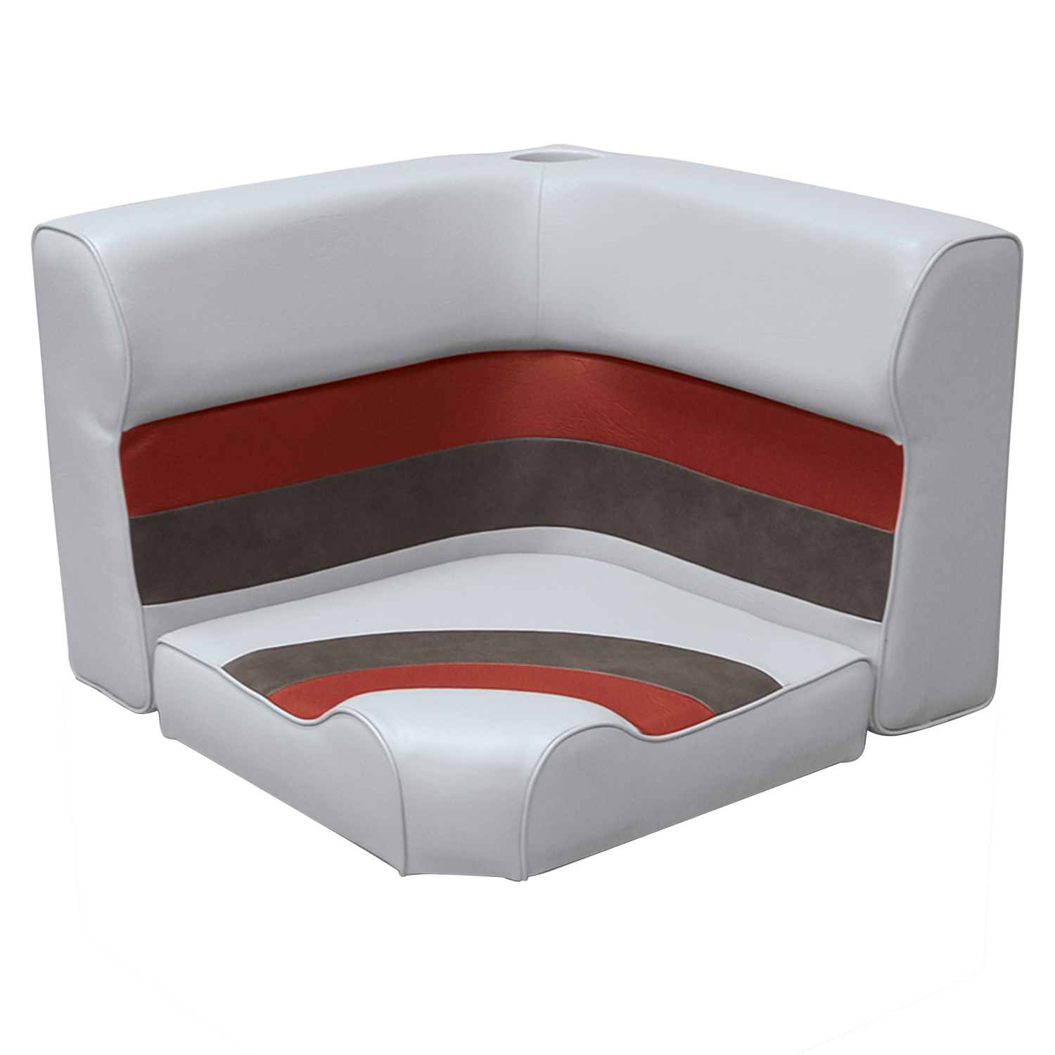 Wise 8WD133-1012 Deluxe Series Pontoon Radius Corner Lounge Seat and Backrest Cushion Set Only, Color: Grey/Red/Charcoal