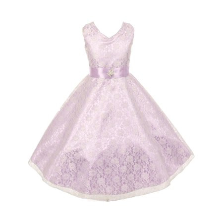 Girls Lace Overlay Satin Brooch Sash Special Occasion Dress 14](Satin Dress With Lace Overlay)