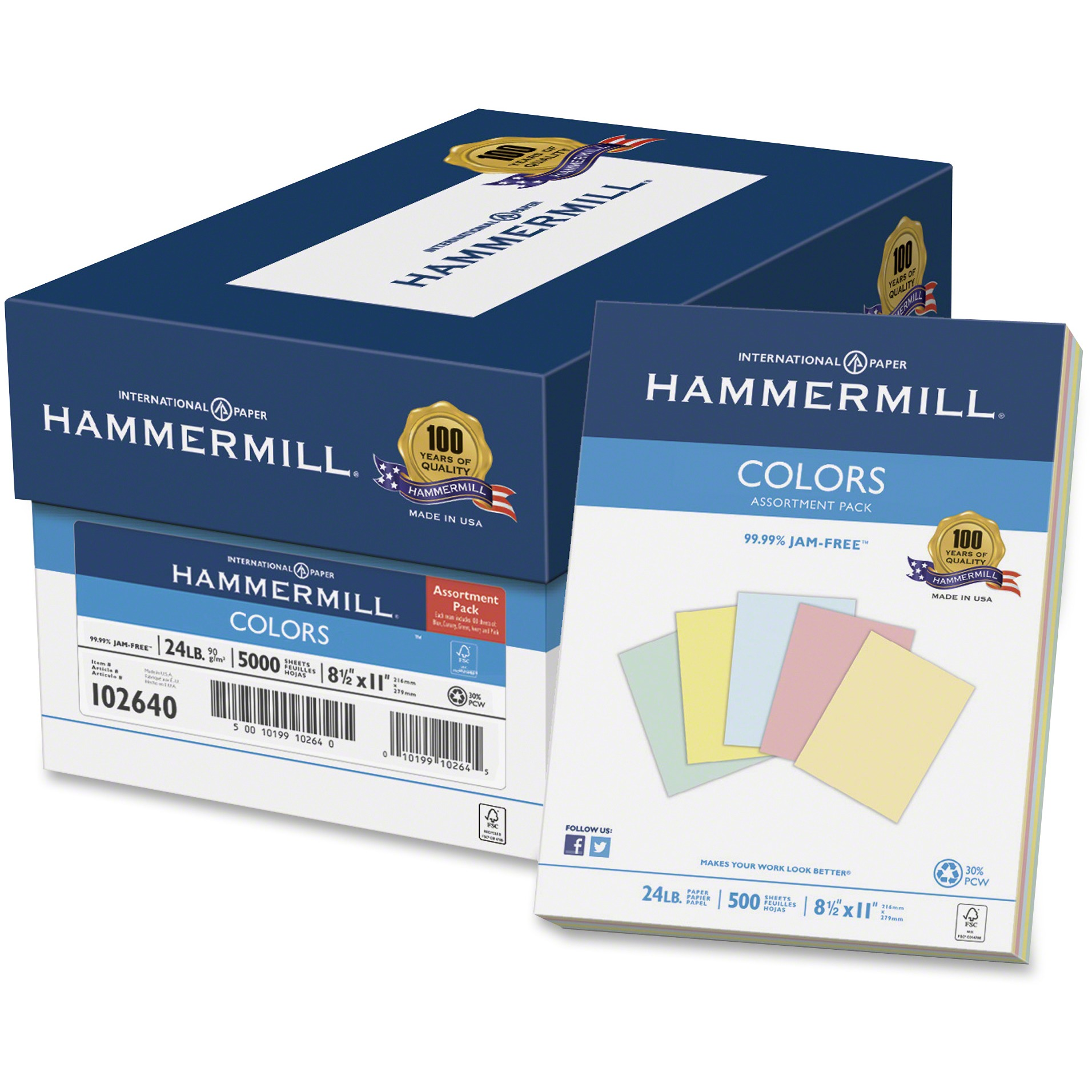 Hammermill, HAM102640, 102640 Colors Assortment Paper Pack, 500 / Ream, Blue,Canary,Green,Ivory,Pink