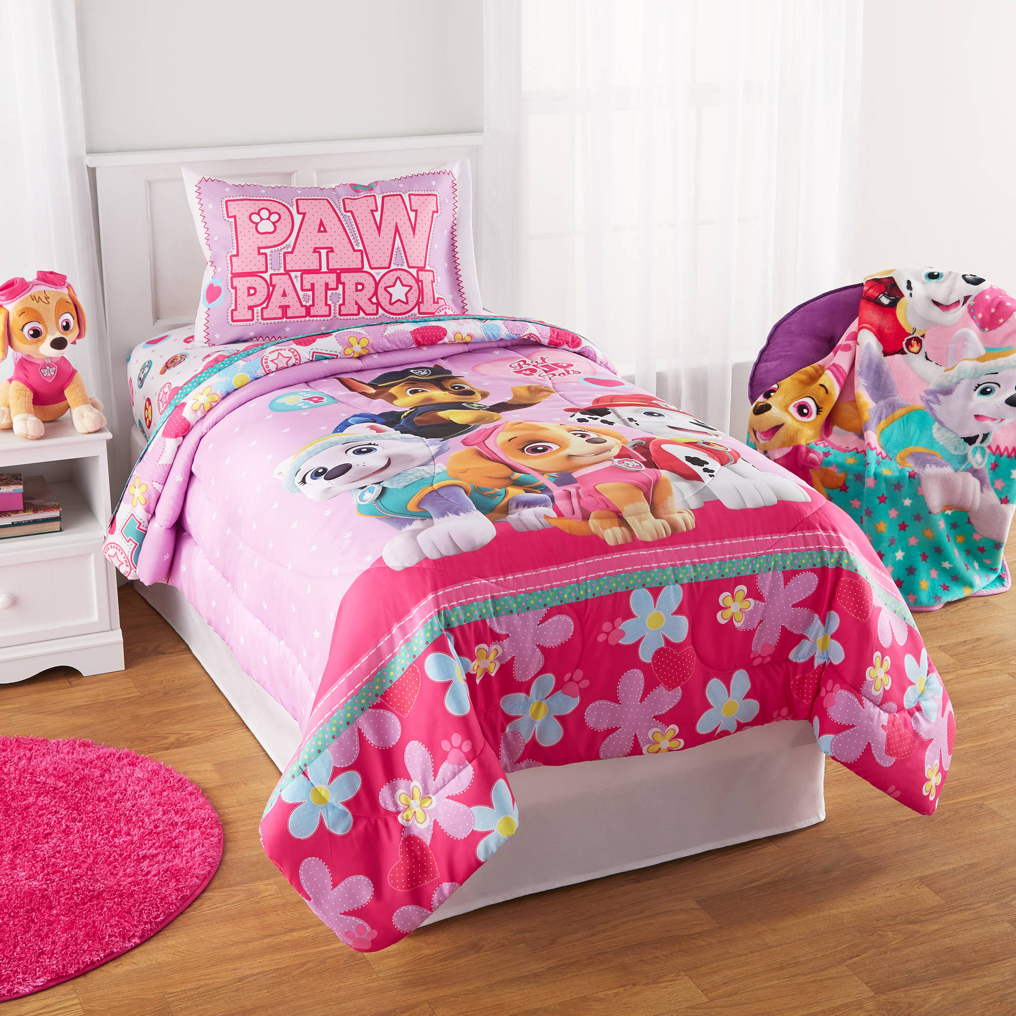 Paw Patrol Puppy Girls Pink Full Comforter & Sheets (5 Piece Kids Bed In A Bag)