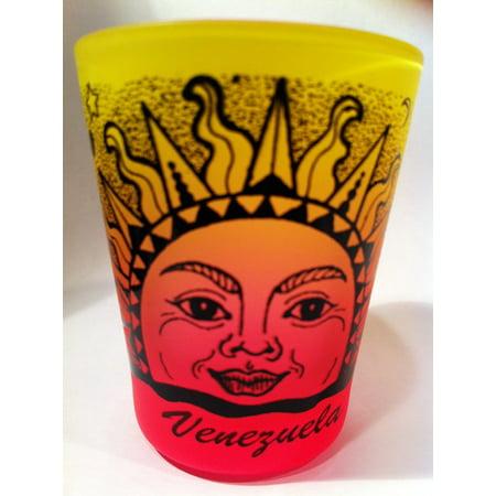 Venezuela Sun Neon Yellow Neon Pink Shot Glass