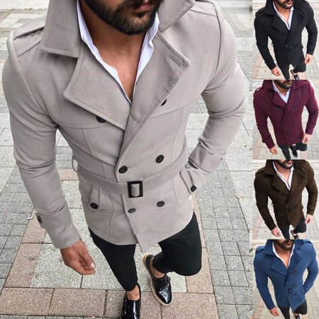 Mens Retro Wool Warm Trench Coat Reefer Jackets Double Breasted Peacoat Overcoat