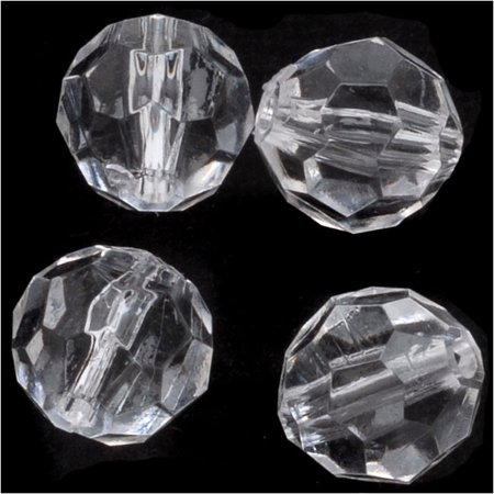 Vintage Lucite Plastic Round Faceted Beads 9.5mm Crystal (25)