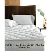 """Reversible Pillow Top Mattress Pad-Double Life! 800TC -22"""" Deep Pocket"""