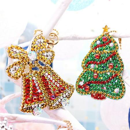 8pcs DIY Drill Diamond Painting Keychain Cross Stitch Key Ring Christmas Xmas Decor Gift - image 6 of 6