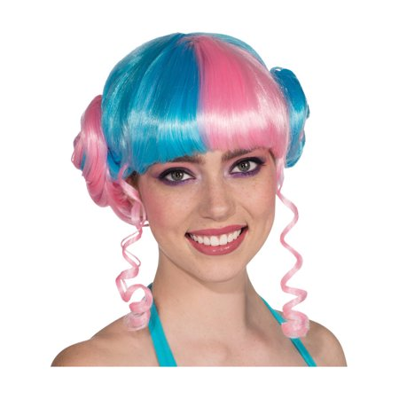 Womens  Vivid Blue Pink Baby Girl Buns Leia Nicki Minaj Costume Punk - Nicki Minaj Super Bass Wig