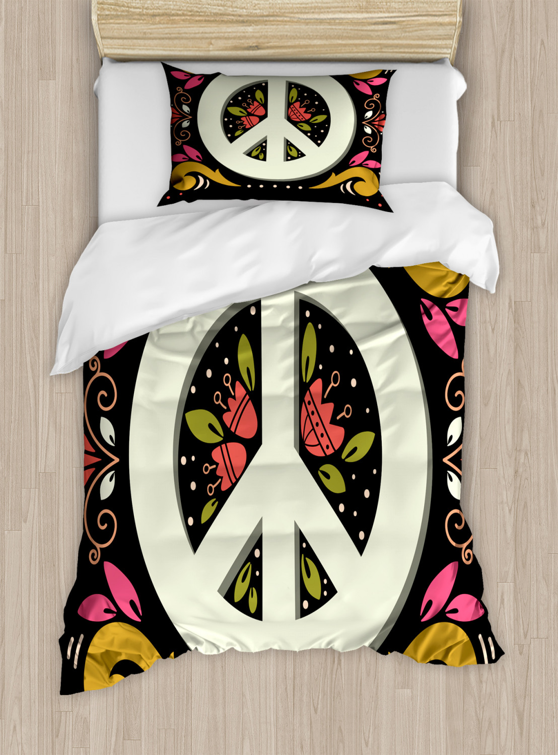 Hippie Twin Size Duvet Cover Set, Graphic Peace Sign with ...