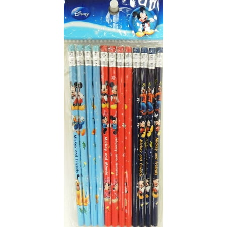 Party Favors Disney Mickey Mouse Authentic Licensed 24 Wood Pencils Pack