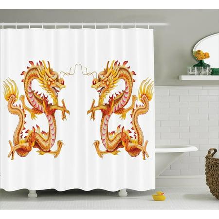 Dragon Decor Shower Curtain Twin Fire Zodiac Stat