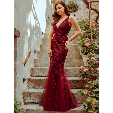 Ever-Pretty Womens V-Neck Sexy Sleeveless Long Formal Evening Prom Ball Gowns for Women 07886 Burgundy