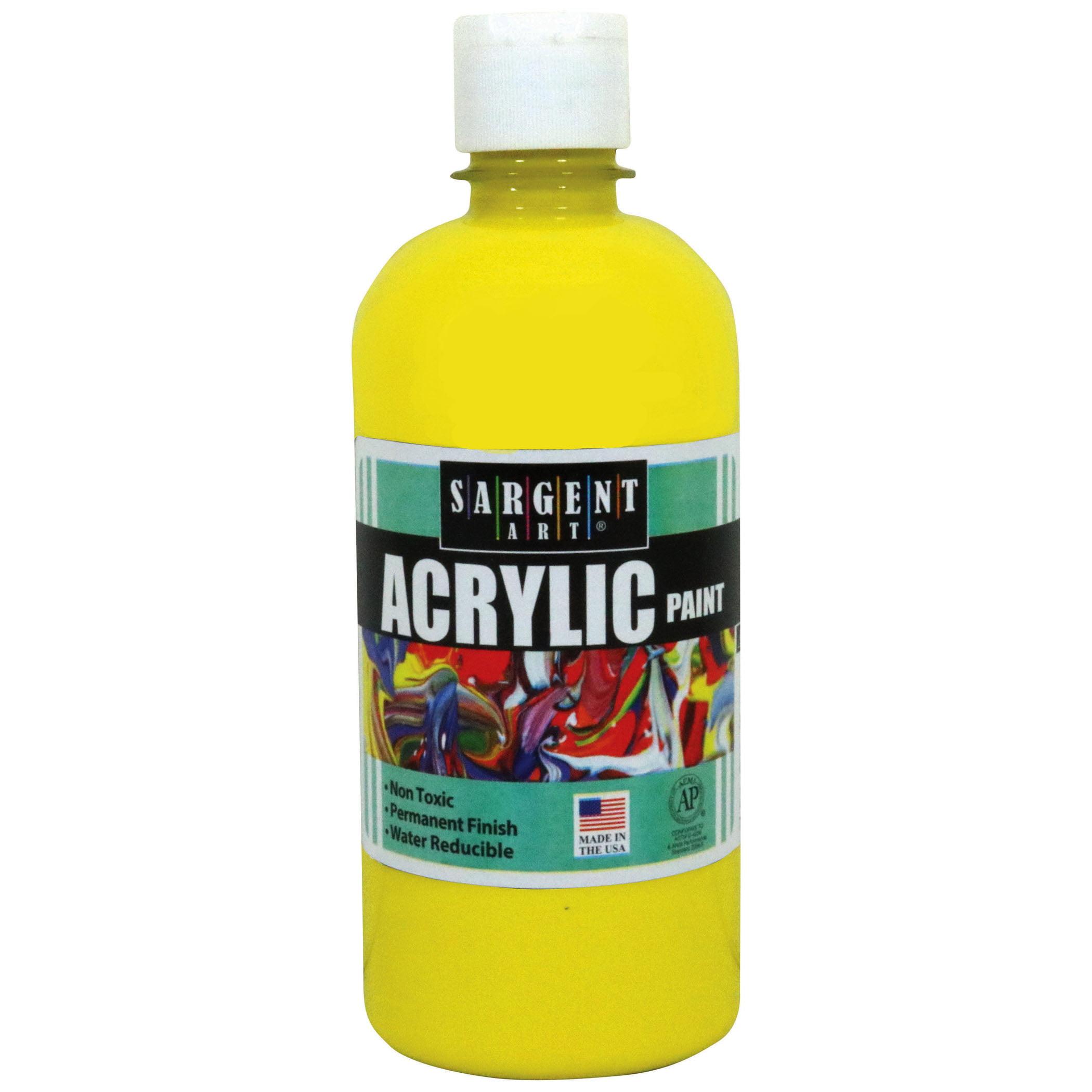 Sargent Art® Acrylic Paint, 16 oz. Squeeze Bottle, Yellow, 3/pkg