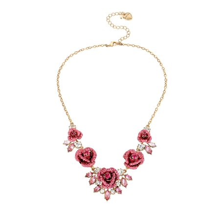Glitter Rosette Statement Necklace](Betsey Johnson Halloween Necklace)