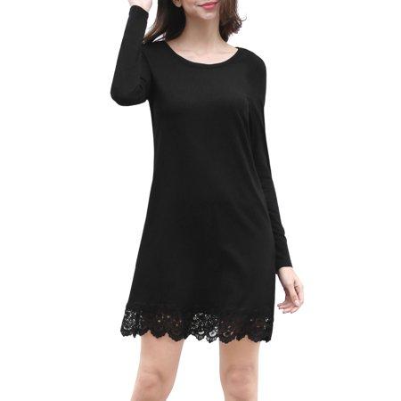 Women Long Sleeves Scalloped Lace Hem Above Knee Dress