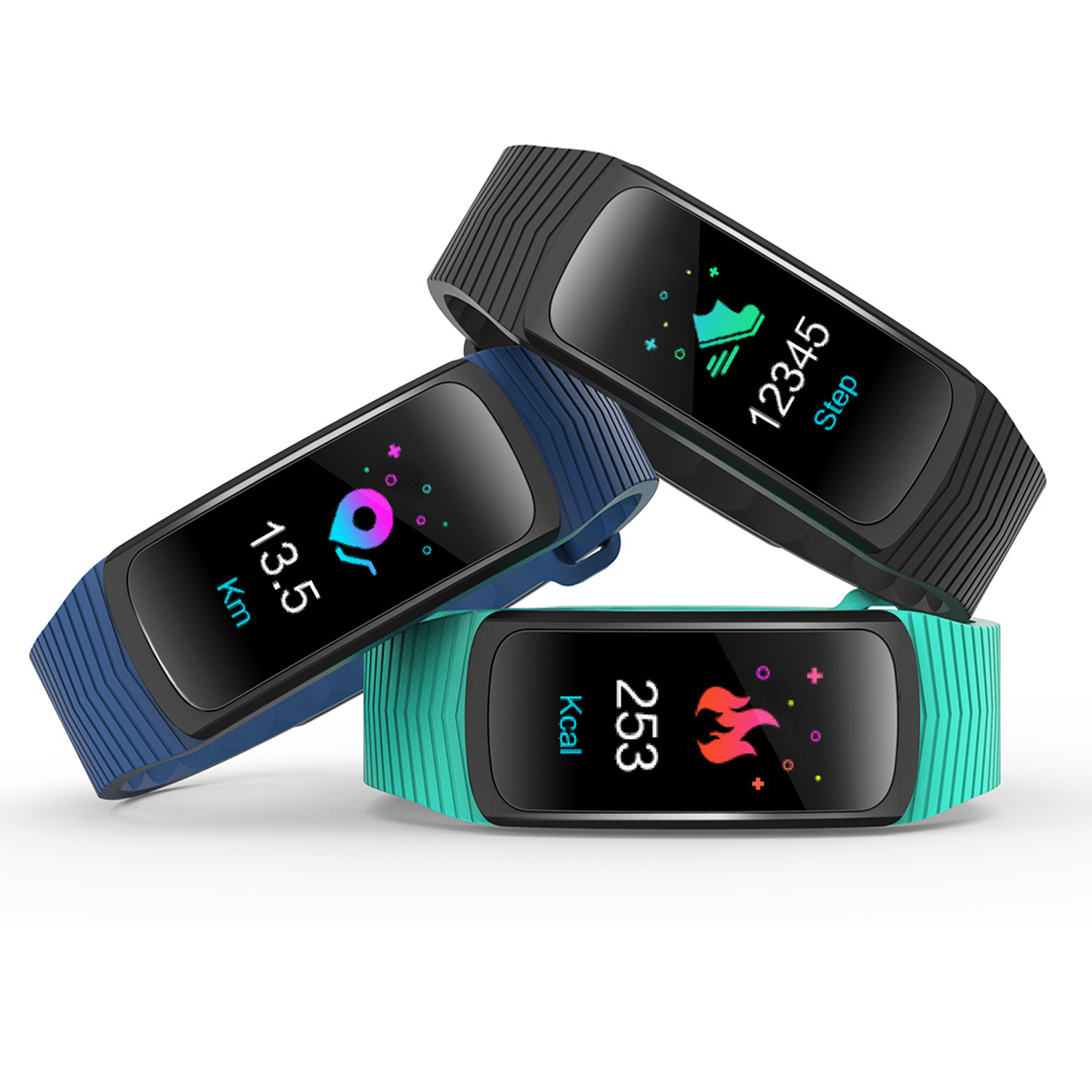 IMAGE Color Screen Fitness Tracker Heart Rate Monitor IP68 Waterproof Smart Watch Sleep Calories Track for Android & IOS