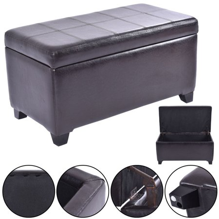 Pu Leather Storage Bench Lift Top Organizer Ottoman