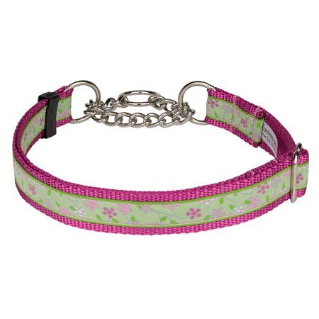 Country Brook Petz™ Fresh Spring Floral Woven Ribbon on Rose Half Check Dog Collar Limited Edition Woven Ribbon Collar