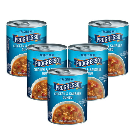 (5 Pack) Progresso Traditional Chicken and Sausage Gumbo Soup, 19 - Seafood Gumbo