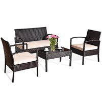 Deals on Costway 4pcs Patio Rattan Furniture Set